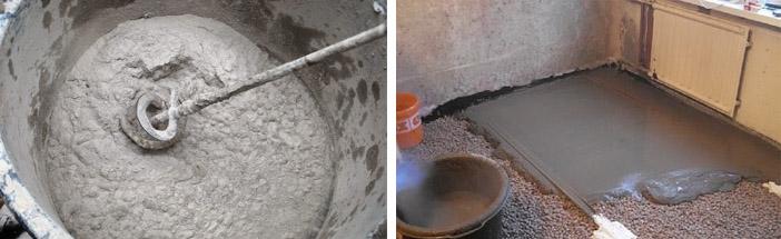 как правильно развести цемент для заливки пола